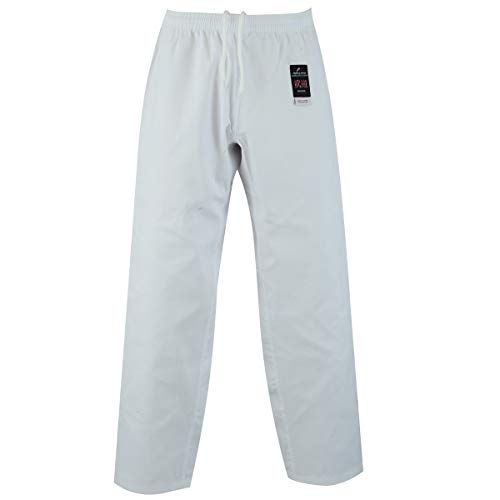 Malino Pantaloni di Karate per Bambini e Uomo Pantaloni di Arti Marziali 7oz Poly Cotton Bianco/Nero