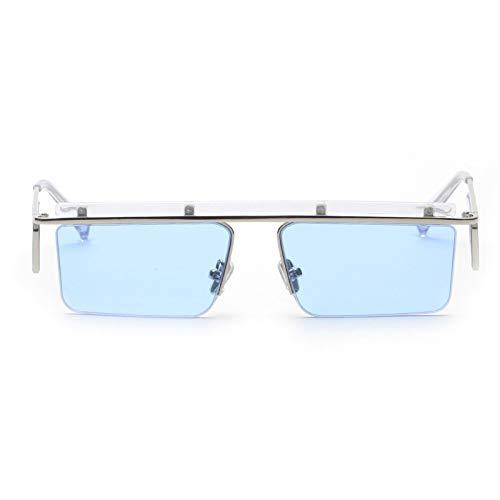 ZJHZJH Rechteck Sonnenbrille Frauen Männer Platz Metall Halbrahmen Sonnenbrille Doppel linse Braun Rote Sonnenbrille Für Feamle