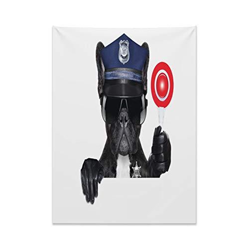 (ABAKUHAUS Tier Wandteppich, Mops Hund Polizei Kostüm aus Weiches Mikrofaser Stoff Kein Verblassen Klare Farben Waschbar, 110 x 150 cm, Schwarz und Blau)