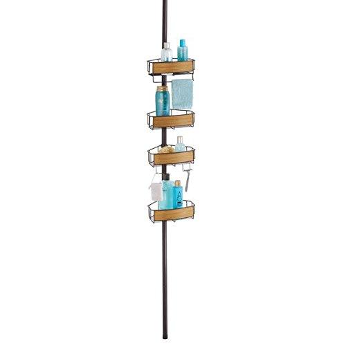 mDesign Teleskop-Duschregal - ohne Bohren zu montierendes Badregal aus Metall - höhenverstellbar von 150 - 275 cm - ideal für Shampoo, Rasierer & sonstiges Duschzubehör