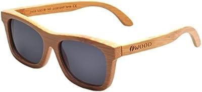 Iwood Handcrafted Moda de bambú carbonizado Marcos gris polarizado lente de las gafas de sol de madera