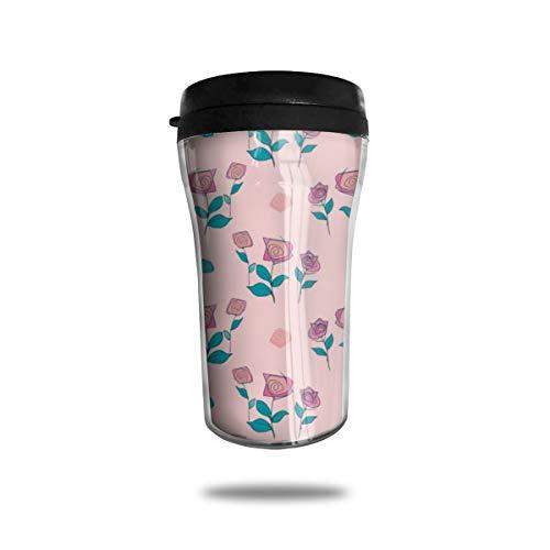 Wiederverwendbare Kaffeetasse mit Rosenmuster, umweltfreundlich, auslaufsicher, langlebig für heiße Getränke, Reisen, Wandern