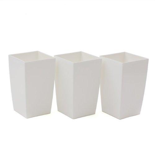 3 Stück Blumentopf 2 Liter Coubi Serie viereckig weiss Glanz Kunststoff
