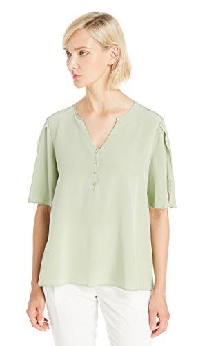LILYSILK Seide Tunika Bluse Damenbluse Top Shirt Hemdbluse Halbarm Damen 18 Momme Salbei XS (Bluse, Salbei)