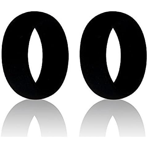 iNeibo Anillo silicona boda, anillo medicinal, anillo silicona, para hombres y mujeres, perfecto para la gente deportiva, y para los aventureros al aire libre Set de 2 anillos (Negro, tamaño 11)