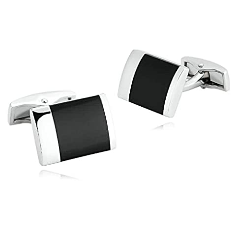 Epinki Mens Stainless Steel Silver Black Agate Gemstone Rectangle Cufflinks for Wedding Business