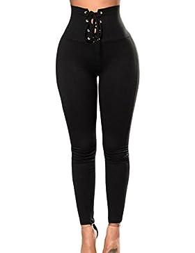 Fasumava Las Mujeres Verano Casual Solid Pantalones Skinny Cintura Ajustable