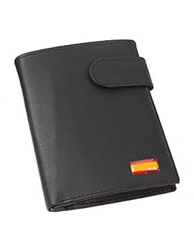 Cartera Billetero Monedero Caballero Bandera DE ESPAÑA Piel Color Negro
