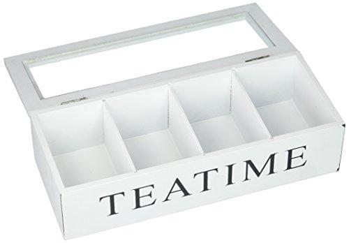 Teebox weiß Holzbox für Teebeutel Holz Teedose TEATIME mit Glasdeckel
