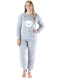 c6c8bc5027e8e Frankie & Johnny plüschiger Schlafanzug für Damen, 2-teiliges Loungewear-Set  aus Fleece