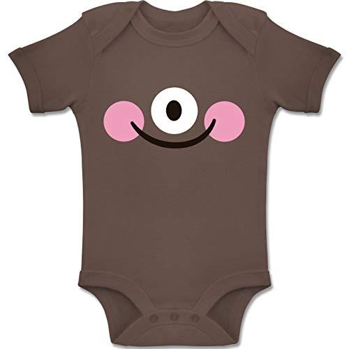Shirtracer Karneval und Fasching Baby - Monster Kostüm Auge - 6-12 Monate - Braun - BZ10 - Baby Body Kurzarm Jungen Mädchen