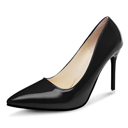 Qimaoo Damen 10cm Pumps Klassische High Heels Stiletto für Frau Hochzeit Beruf Bussiness Schwarz Rot und Nude