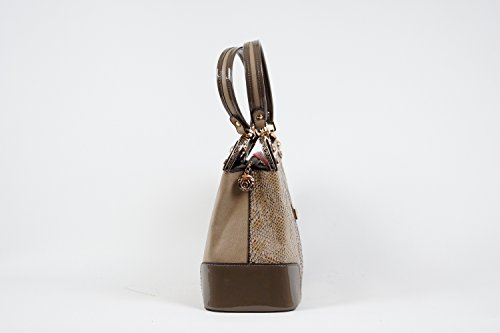 Tasche Damentasche Handtasche Luxus Taymir Schlangenhaut 2 Jahre Garantie Beige-Grau