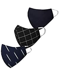 Vastramay Unisex 3 -Ply Checkered, Self Design and Ikat Printed Reusable Anti-Pollution Comfortable Half Face, Ear Loop Welness Masks in Blue - Pack of 3