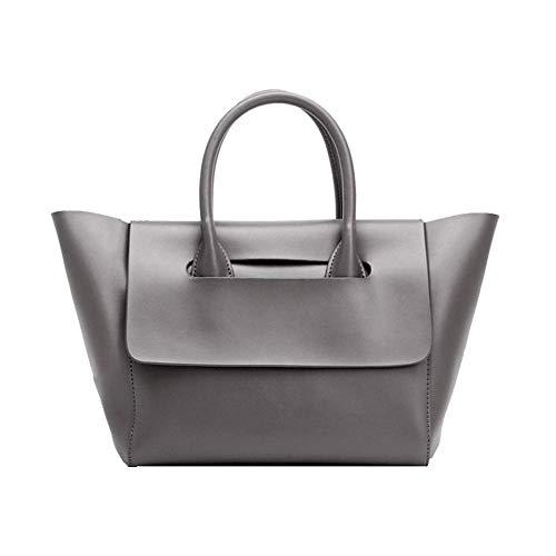 HWYP Große Kapazität Einkaufstasche Mutter Tasche Dame Handtasche Mode Europa und Amerika retro weichem Leder-grey