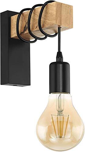 EGLO Wandlampe Townshend, 1 flammige Vintage Wandleuchte im Industrial Design, Retro Lampe aus Stahl und Holz, Farbe: Schwarz, braun, Fassung: E27 -