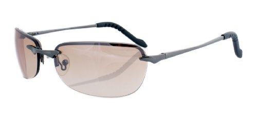 Rahmenlose Sonnenbrille mit Flexbügeln aus Metall hellbraun spiegelnd