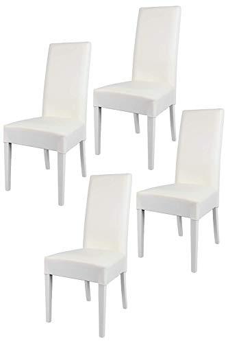 Tommychairs - 4er Set Moderne Stühle Luisa für Küche und Esszimmer, Struktur aus lackiertem Buchenholz Farbe Weiss, Gepolstert und mit weissem Kunstleder bezogen