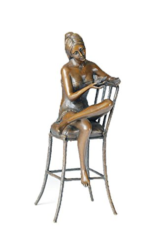 Toperkin Art Decor Bronze Antique Statue Sitting Beauty Chair Craft Home Desk Sculpture