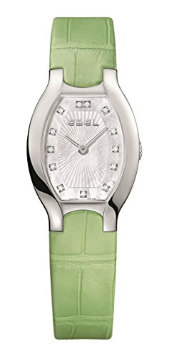 Ebel Women's Green Leather Band Steel Case Swiss Quartz MOP Dial Watch 1216206