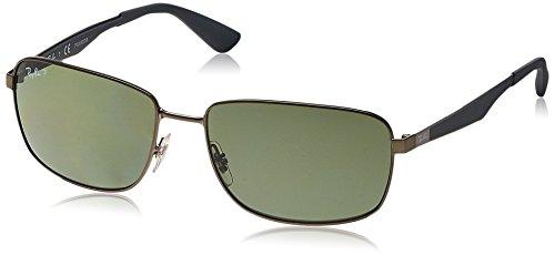 Ray-Ban Unisex RB3529 Sonnenbrille, Grau (Gestell: Gunmetal, Gläser: Polarized Grün Klassisch 029/9A), X-Large (Herstellergröße: 61)