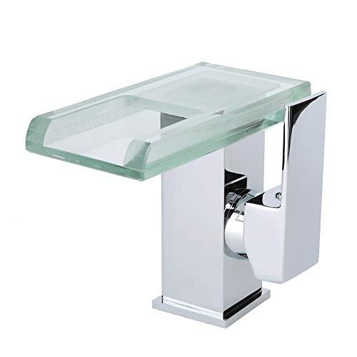 """Garosa LED Waschbecken Wasserhahn, DREI-Farben-Temperaturregelung Waschbecken Wasserhahn Wasserfall Kupfermaterial g1 / 2 """"LED Mischbatterie"""