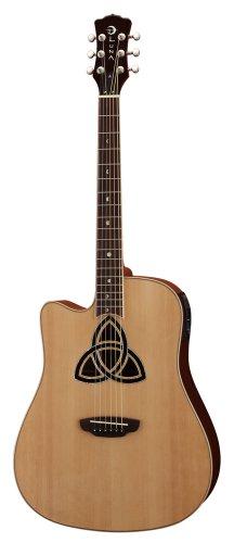 Luna Guitars TRI D LEFTY - Guitarra electroacústica (para zurdos, tipo dreadnought), color marrón