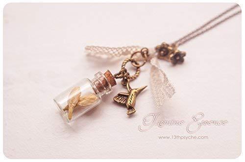 Collana di gelsomini, collana di bottiglie di vetro, pendente di fiori secchi, gioielli di fiori veri, gioielli di fiori pressati,...