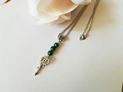 pendentif malachite, pendentif pierres naturelles, pendentif protection, pendentif acier, pendentif fait mains
