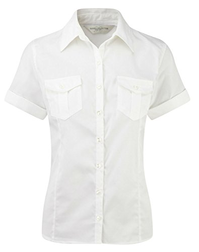 Russell Collection Rouleau courtes pour femme Manches courtes Twill Shirt Blanc - Blanc