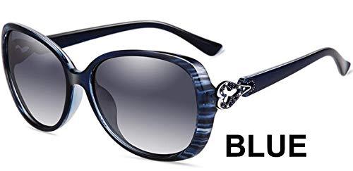 LKVNHP Herzform Kunststoff Schwarz Oval Sonnenbrille Damen Polarisierte Retro Uv400 Mode Brille FrauWPGJ118 BLAU