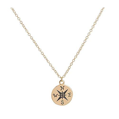 XCFS BEAUTY 18K Vergoldet Gravur Kompass Charme Aufmunternde Geschenk Anhänger Halskette, Schlüsselbein - Einzigartige Kostüm Zum Verkauf