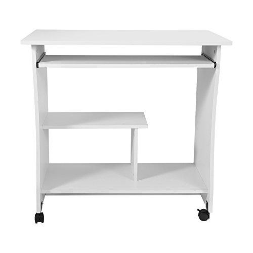 Computertisch Modern Simpel Schreibtisch Hölzern PC Tisch mit Keyboardständer und Rolle für Hause und Bürosarbeit, 80 x 48 x 74,5...