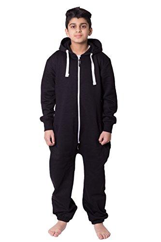 Unisex Kinder Mädchen Jungs Einfarbiges Fleece Kaupuzen Jumpsuit Overall 7-13