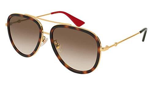 Gucci Damen GG0062S-012 Sonnenbrille, Braun (Dorado/Havana/Brillo), 57