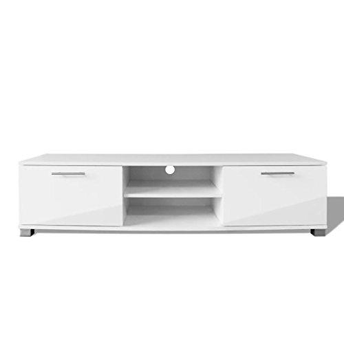 Mewmewcat mobile porta tv moderno bianco/nero laccato lucido 120x40,3x34,7 cm (bianco, 120 x 40,3 x 34,7 cm)