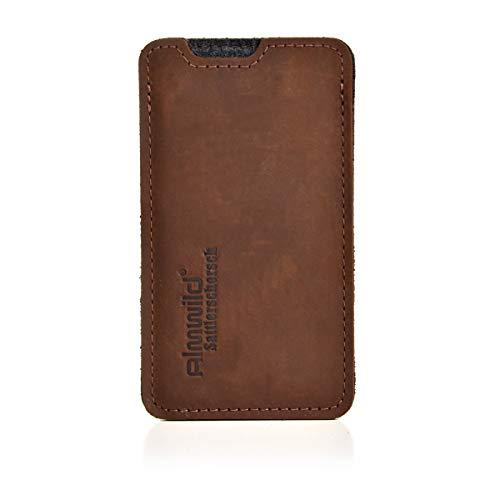 Almwild® Hülle, Tasche für Apple iPhone 8, 7, 6 MIT Apple Leder Case/Silikon Case. Aus echtem Rinds- Leder. In Braun. Handyhülle in Bayern handgefertigt. Modell Sattlerschorsch