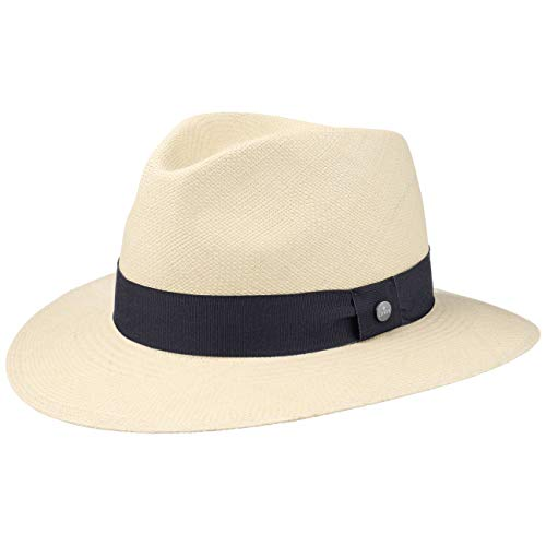 Lierys The Sophisticated Panamahut Damen/Herren | Handmade in Ecuador | Panamastrohhut | Strohhut aus Panamastroh | Sommerhut mit Ripsband Natur-dunkelblau L (59-60 cm)