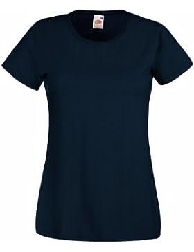 Camiseta de Fruit of the Loom para mujer, ajustada, de distintos colores, de algodón, manga corta azul marino