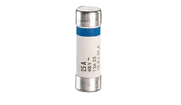 Legrand LEG92914 Cartouche fusible pour porte-fusible sans t/émoin 25 A 5750 W 10,3 x 31,5