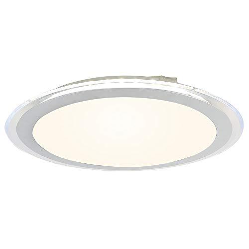 LED Deckenleuchte I inkl. 12 W Leuchtmitte l Modern Weiße Deckenlampe aus Kunststoff I Bad-Beleuchtung I 1320 Lumen, Für Wohnzimmer Lampe Schlafzimmer Küche Natürliches Licht Licht, Ø35 cm