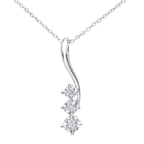 Naava Women's Pave Set Diamond Drop Pendant and 9 ct White Gold Chain Necklace of 46 cm
