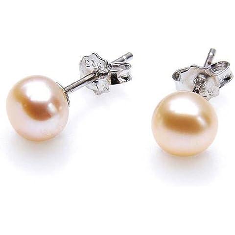 Silvity Pearls Silvity Classics–Orecchini da donna in argento Sterling 925Perle coltivate d' acqua dolce rosé circa 4,0–4,5mm 308503–20