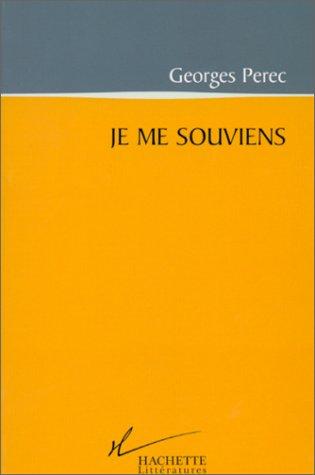 Je ME Souviens par Georges Perec