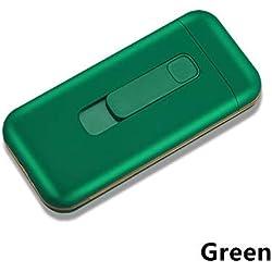 20pcs Capacité Cigarette Case Box avec USB Briquet électronique pour Slim Cigarette Étanche Cigarette Titulaire Plasma Briquet, Vert