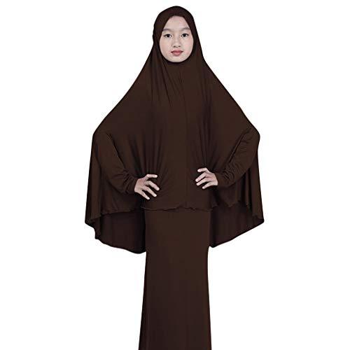 EUCoo Kinder MäDchenkleid Moslemischer Arabischer NahöStlicher Einfarbiger Traditioneller Langer Rockhaube Zweiteilig(Braun, ()