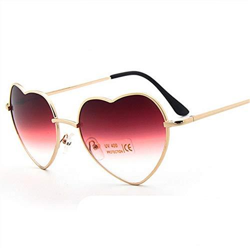 WDDYYBF Sonnenbrillen, Herz Reflektierende'S Sonnenbrille Frauen Gläser So Geformt Lieben Mode Frauen Spiegel Sonnenbrille Full Metal Frames Brillen Redtouming