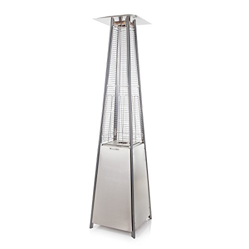 Pyramid Living Flame Garden Gas Patio Heater - Floor Standing in Stainless Steel - Total Height 221cm - Includes Regulator and Hose