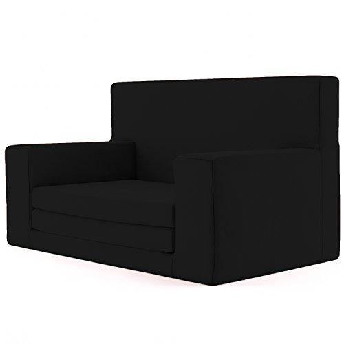 Canapé-lit 2 en 1 pour enfant âgés de 1 - 4 ans Noire - Composé d'un mélange de mousse viscoélastique - Très doux et assure la sécurité Canapé convertible Meuble de salon amusant et léger