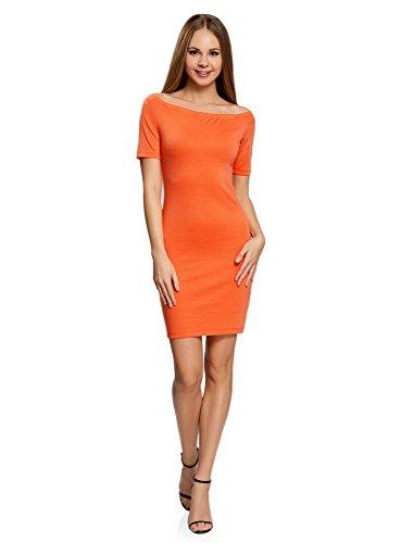 oodji Ultra Damen Jersey-Kleid mit U-Boot-Ausschnitt, Orange, DE 40 / EU 42 / L